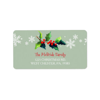 Watercolor Merry Berry Holiday Address Label