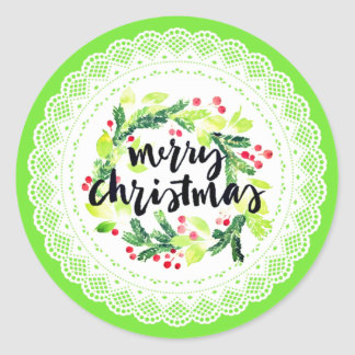 Watercolor Merry Christmas Doily Sticker