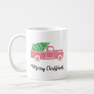 Watercolor Merry Christmas Truck with Tree Mug