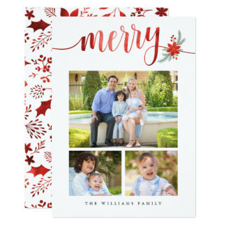 Watercolor Merry Photo Collage Christmas Cards