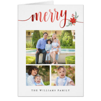 Watercolor Merry Poinsettia Christmas Photo Card