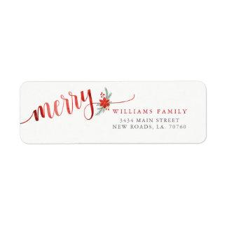 Watercolor Merry Poinsettia Christmas Return Address Label