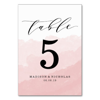 Watercolor Mist | Personalized Table Number Card