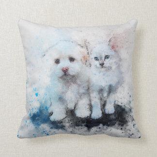 Watercolor Mix Media Kitten & Puppy Buddies Throw Pillow