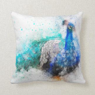 Watercolor Mix Media Peacock1 Throw Pillow