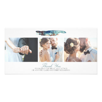 Watercolor Modern Beach Photo Wedding Thank You Photo Card Template
