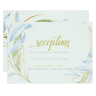 Watercolor Modern Boho Leafy Branches Reception Card