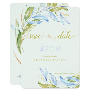Watercolor Modern Boho Leafy Branches STD Card