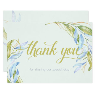 Watercolor Modern Boho Leafy Branches Thank You Card
