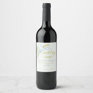 Watercolor Modern Boho Leafy Branches Wine Label