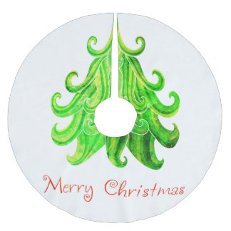 Watercolor Modern Christmas Tree Brushed Polyester Tree Skirt