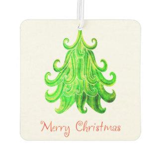 Watercolor Modern Christmas Tree Car Air Freshener