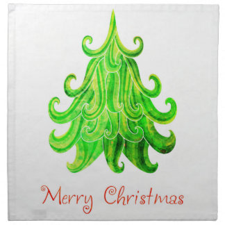 Watercolor Modern Christmas Tree Napkin
