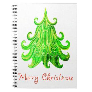Watercolor Modern Christmas Tree Notebooks