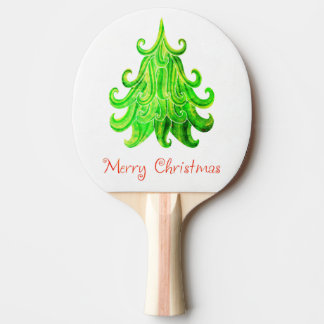 Watercolor Modern Christmas Tree Ping Pong Paddle