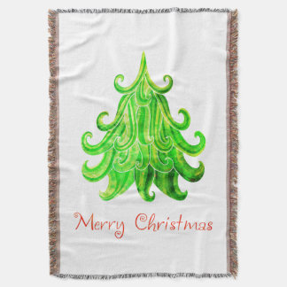 Watercolor Modern Christmas Tree Throw Blanket