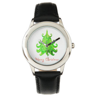 Watercolor Modern Christmas Tree Watch