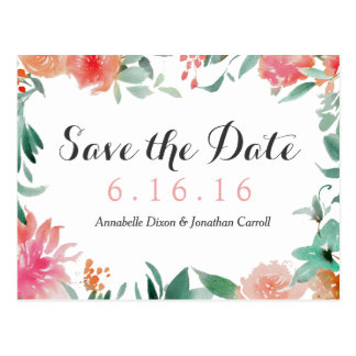 Watercolor Modern Save the Date Postcard