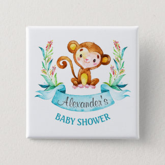 Watercolor Monkey Boy Baby Shower 2 Inch Square Button