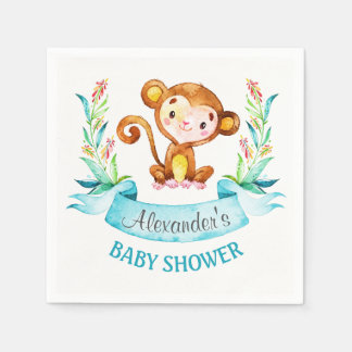 Watercolor Monkey Boy Baby Shower Disposable Napkins