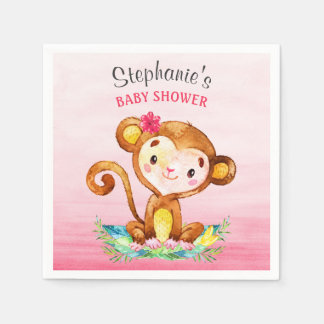 Watercolor Monkey Girl Baby Shower Disposable Napkin