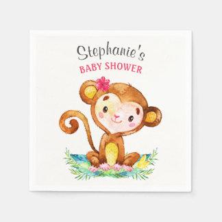 Watercolor Monkey Girl Baby Shower Paper Napkin