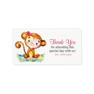Watercolor Monkey Girl Thank You Label