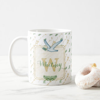 Watercolor Monogram Peace on Earth Gold Typography Coffee Mug