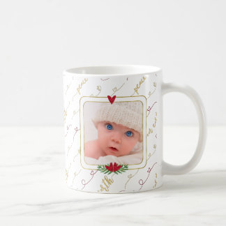 Watercolor Monogram & Photo | Peace on Earth Coffee Mug