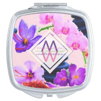 Watercolor Monogram Saffron and Orchid Flowers Zen Compact Mirrors