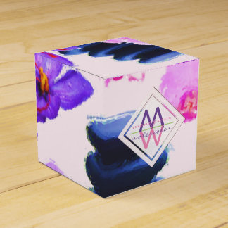 Watercolor Monogram Saffron and Orchid Flowers Zen Favor Box