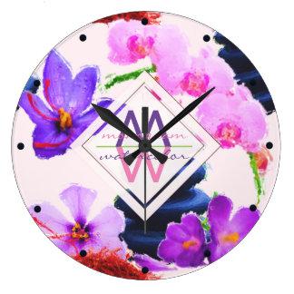 Watercolor Monogram Saffron and Orchid Flowers Zen Large Clock