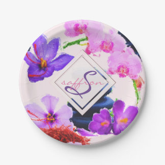Watercolor Monogram Saffron and Orchid Flowers Zen Paper Plate