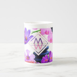 Watercolor Monogram Saffron and Orchid Flowers Zen Tea Cup