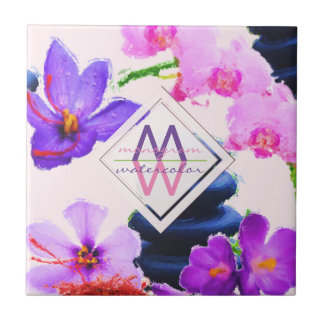 Watercolor Monogram Saffron and Orchid Flowers Zen Tile