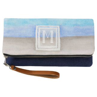 Watercolor Monogram Sea & Sand Blue and Tan Clutch