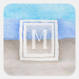 Watercolor Monogram Sea & Sand Blue and Tan Square Sticker