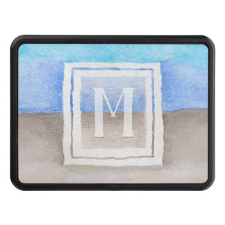 Watercolor Monogram Sea & Sand Blue and Tan Trailer Hitch Cover