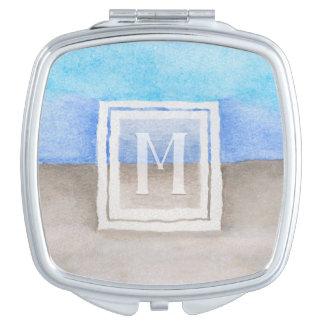 Watercolor Monogram Sea & Sand Teal Blue Tan Mirror For Makeup