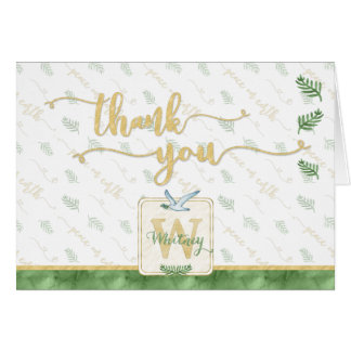 Watercolor Monogram THANK YOU Gold Typography Card