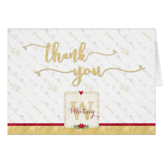 Watercolor Monogram THANK YOU Typography Red Gold Card