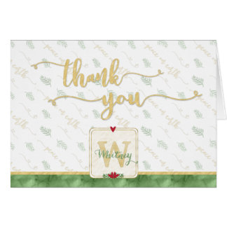 Watercolor Monogram THANK YOU Typography Red Green Card