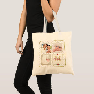 Watercolor Monogram Typography Christmas Photo Tote Bag