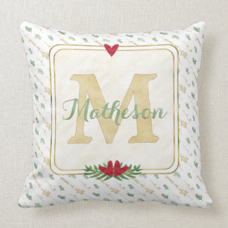 Watercolor Monogram Typography Peace on Earth Throw Pillow