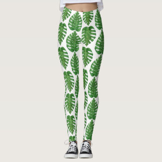 Watercolor Monstera Leaves Leggings