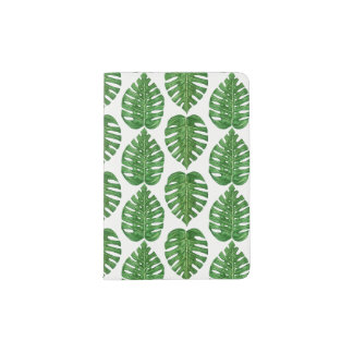 Watercolor Monstera Leaves Passport Holder