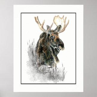 Watercolor Moose Wilderness Animal Poster
