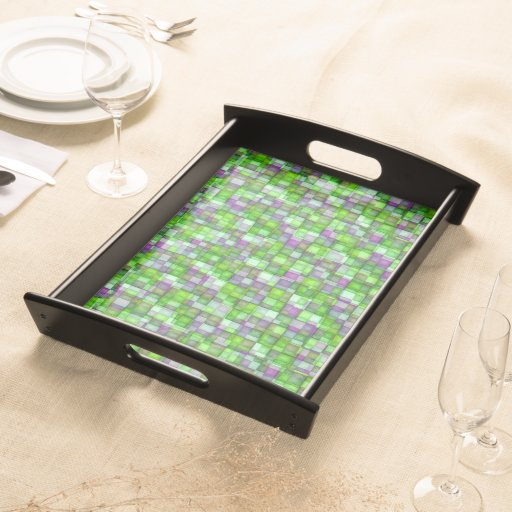 Watercolor Mosaic Squares Bright Green & Purple Serving Trays