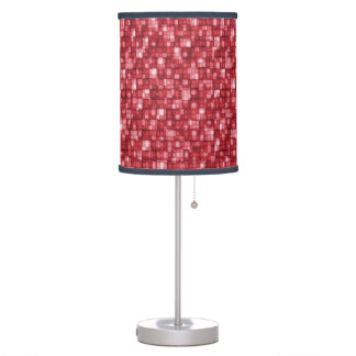 Watercolor Mosaic Squares Shades of Cherry Red Table Lamp