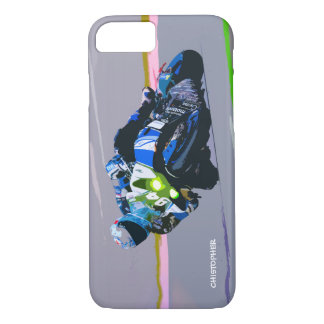 Watercolor Motorcycle Rider Circle Racing Sketch iPhone 7 Case